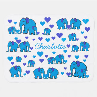 Baby's Name on Blue Elephants and Hearts Blanket Pram blankets
