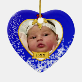 Baby's Photo Keepsake Christmas Ornament in Blue