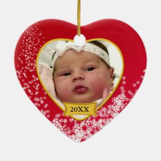 Baby's Photo Keepsake Christmas Ornament Snowy Red