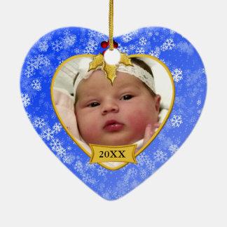 Baby's Photo Keepsake Gold Blue Snowy Christmas Ceramic Heart Decoration
