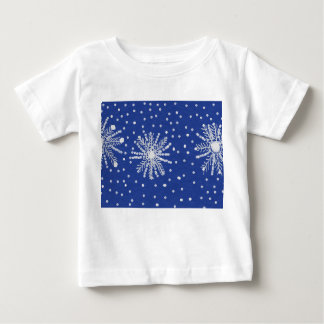 babys white tshirt with snowflakes