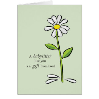 Babysitter Birthday, Religious Green Daisy Flower Card