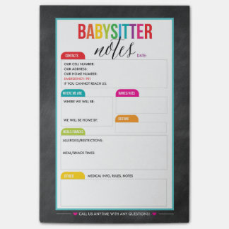 Babysitter Post-it Notes Notepad for Parents
