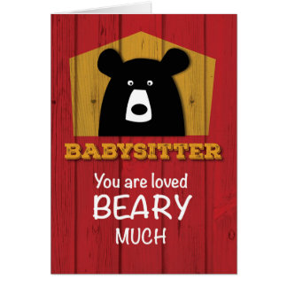 Babysitter, Valentine Bear Wishes on Red Wood Card