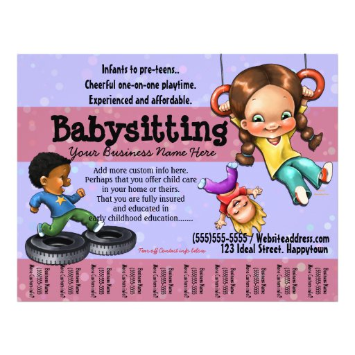 Template Day Care Flyers Templates Babysitting Printable