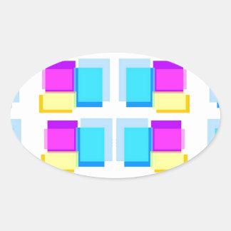 Babysoft Girly Blocks Design on White Base Oval Sticker