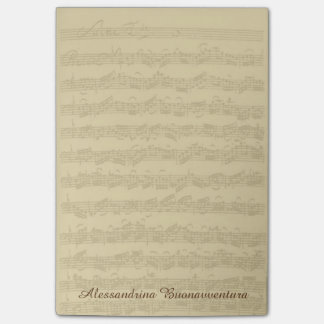 Bach 2nd Cello Suite Music Manuscript Custom Name Post-it Notes