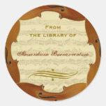 Bach Cello Suite Manuscript Customisable Bookplate Round Sticker
