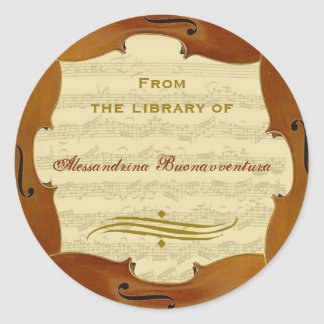 Bach Cello Suite Manuscript Customizable Bookplate Classic Round Sticker