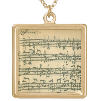 Bach Chaconne Manuscript for Solo Violin Gold Plated Necklace