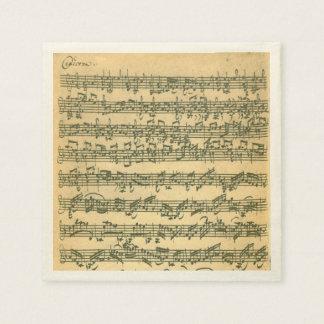 Bach Chaconne Violin Music Manuscript Disposable Napkins