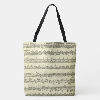Bach Partita Original Music Manuscript Excerpts Tote Bag