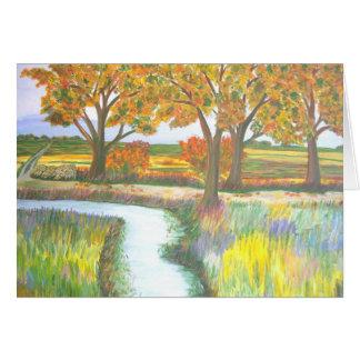 Bach Tree By Autumn Lake Watercolour Card
