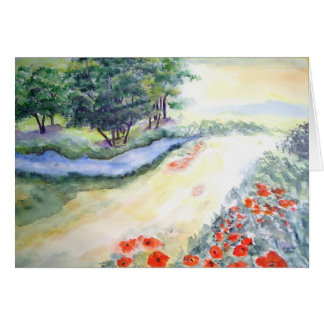 Bach Trees And Poppies From Watercolour Card