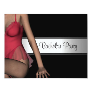 Bachelor Party Black Silver Girl Card