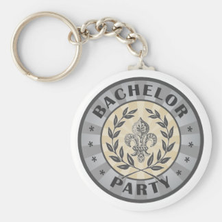 Bachelor Party Crest Design Basic Round Button Key Ring