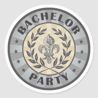 Bachelor Party Crest Design Classic Round Sticker