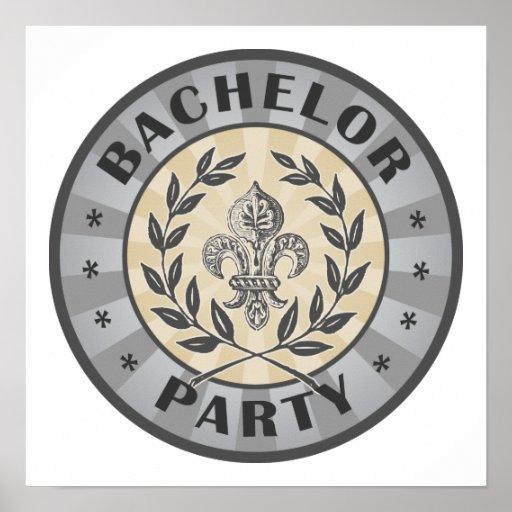 Bachelor Party Crest Design Print