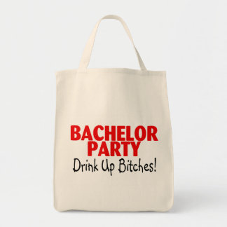 Bachelor Party Drink Up Red Black Tote Bags
