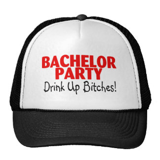 Bachelor Party Drink Up Red Black Cap
