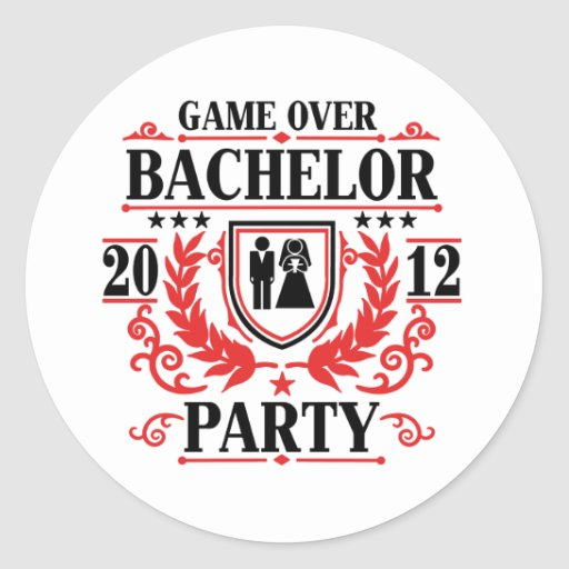 bachelor party game over 2012 round stickers