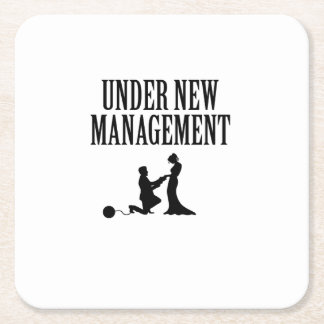 Bachelor party Groom Gift  Under New Management Square Paper Coaster