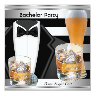 Bachelor Party Mens Boys Night Out Drinks Tux 13 Cm X 13 Cm Square Invitation Card