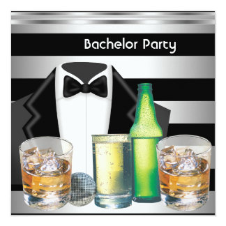 Bachelor Party Mens Drinks Tuxedo Black Silver 13 Cm X 13 Cm Square Invitation Card