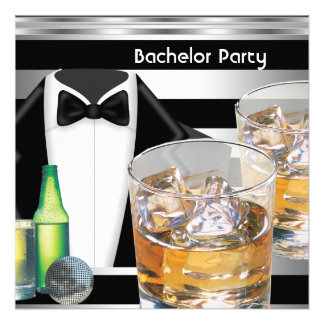 Bachelor Party Mens Drinks Tuxedo Black Silver Custom Announcements