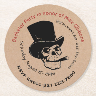 Bachelor Party Paper Coaster Invitation