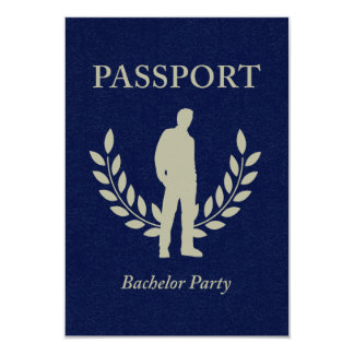 bachelor party passport 9 cm x 13 cm invitation card