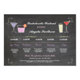 Bachelorette Bridal Shower Chalk Purple Itinerary Card