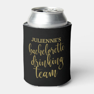 Bachelorette Drinking Team Stylish Gold Glitter Can Cooler