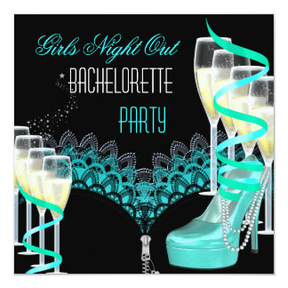 Bachelorette Girls Night Out Teal Blue Champagne 13 Cm X 13 Cm Square Invitation Card