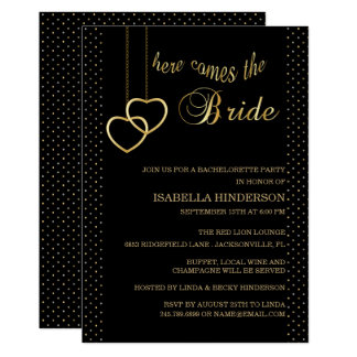 Bachelorette - Here Comes the Bride - Black & Gold Card