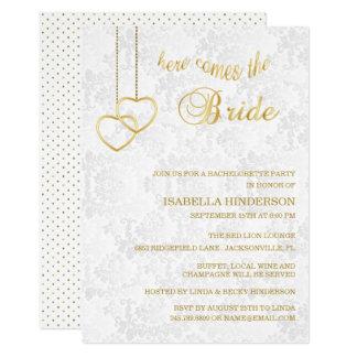 Bachelorette - Here Comes the Bride - White & Gold Card