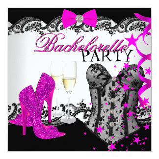 Bachelorette Lace Pink Corset Champagne 13 Cm X 13 Cm Square Invitation Card