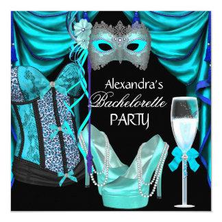 Bachelorette Leopard Blue Masquerade Champagne 13 Cm X 13 Cm Square Invitation Card