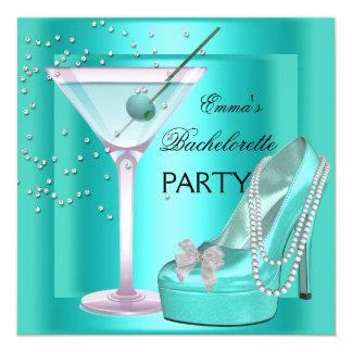 Bachelorette Party Aqua Teal Blue Turquoise Shoes 13 Cm X 13 Cm Square Invitation Card
