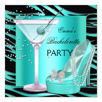 Bachelorette Party Aqua Teal Blue Turquoise Zebra 13 Cm X 13 Cm Square Invitation Card