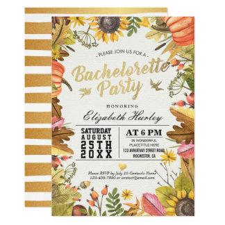 Bachelorette Party Autumn Maple Fall Leaf Pumpkin Card