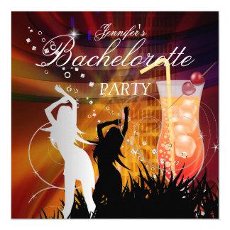Bachelorette Party Black Gold White Cocktail 13 Cm X 13 Cm Square Invitation Card