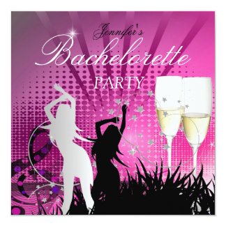 Bachelorette Party Black Pink White Champagne Announcement