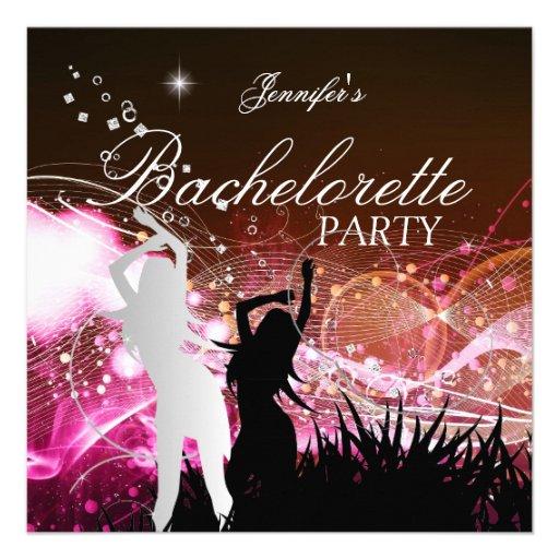 Bachelorette Party Black Pink White Silver Custom Invitation