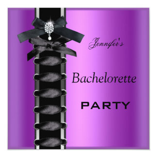 Bachelorette Party Black Purple Diamond Corset Tie 13 Cm X 13 Cm Square Invitation Card
