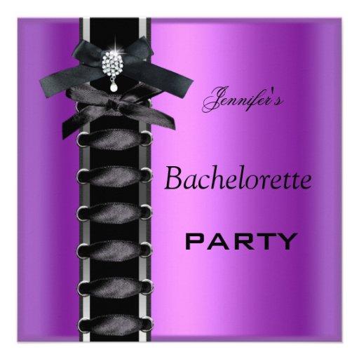 Bachelorette Party Black Purple Diamond Corset Tie Custom Invites