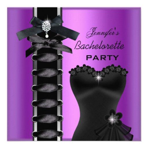 Bachelorette Party Black Purple Diamond Corset Tie Custom Invite