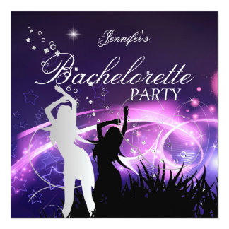 Bachelorette Party Black Purple White Silver 13 Cm X 13 Cm Square Invitation Card