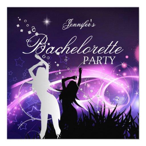 Bachelorette Party Black Purple White Silver Custom Invitations
