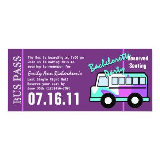 Bachelorette Party Bus Pass 10 Cm X 24 Cm Invitation Card